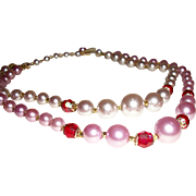 Vintage 2-Strand Shaded Mauve Faux Pearls Necklace