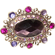 Vintage Monet Plum Perfect Crystal and Silver-plated Pin/Brooch
