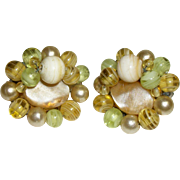 Vintage Mother-of-Pearl Slices and Glass Beads Clip Earrings