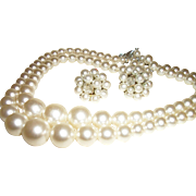 Vintage Two-Strand Faux Pearls Necklace and Earrings Set