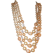 Vintage 4-Strand Lucite & Glass Shaded Peach Necklace