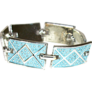Vintage Pale Blue Enamel Articulating Links Bracelet