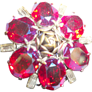 Vintage Fuchsia Crystal and Pewter Rose Pin/Brooch