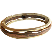 Vintage Copper Wave Hinged Bracelet