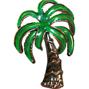 Vintage Copper Enamel Palm Tree Figural Pin/Brooch