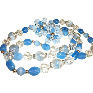 Vintage Shades of Blue Mixed Glass Necklace and Earrings Set