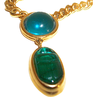 Vintage Monet Glass Scarab Pendant Necklace