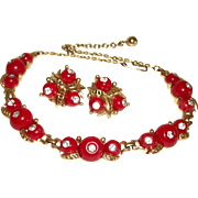 Vintage Red Hot & Rhinestones Lucite Necklace and Earrings Set
