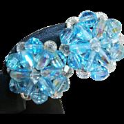 Vintage Aqua Crystals Clip Earrings