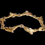 Vintage Gold-plated Dolphins Articulating Bracelet