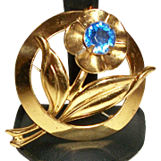 Vintage Gold-plate and Blue Crystal Pin/Brooch