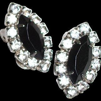 Vintage Petite Rhinestones Wrapped Crystal Clip Earrings