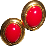 Vintage Red Lucite Cabochon Post Earrings