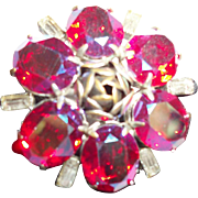 Vintage Fuchsia-Rose Faceted Crystal Pin/Brooch