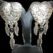 Vintage Southwest Hearts Clip Earrings