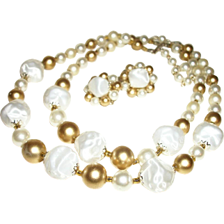 Vintage 2-Strand Lucite  & Glass Necklace & Earrings Set