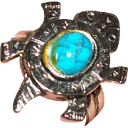 Vintage Turquoise-Blue Cabochon Turtle-Shaped Ring