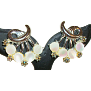 Vintage Mother-of-Pearl and Rhinestones Clip Earrings
