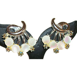 Vintage Mother-of-Pearl and Rhinestones Clip Earrings