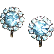 Vintage Something Blue Tiny Rhinestones Clip Earrings