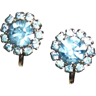 Vintage Something Blue Tiny Rhinestones Clip Earrings