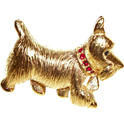 Vintage NAPIER Figural Dog with Red Rhinestones Collar Pin/Brooch