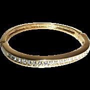Vintage Rhinestones Hinged Bangle Bracelet