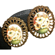 Vintage Painted Porcelain Cabochon Clip Earrings