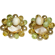 Vintage Mother-of-Pearl and Glass Earrings