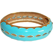 Vintage Turquoise-Blue Hinged Bracelet