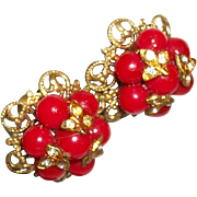 Vintage Bright Red Glass Clusters Earrings