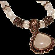 Vintage Rose Quartz in Antique Copper-Plate and Glass Necklace SALE!
