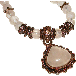 Vintage Rose Quartz in Antique Copper-Plate and Glass Necklace SALE!