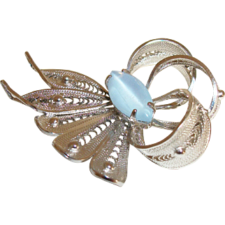 Vintage Alice Caviness Blue Cabochon Butterfly Pin/Brooch