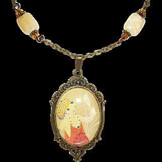 Artisan Pendant Necklace Set: 1924 Erte Fashion Print & Calcite Gemstones