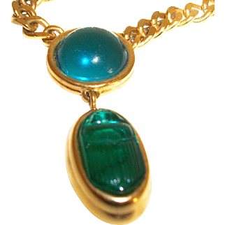 Vintage Monet Glass Scarab Cabochon Pendant & Chain Necklace
