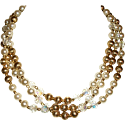 Vintage 3-Strand Crystals, Faux Pearls, & Textured Beads Necklace