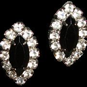 Vintage Rhinestones & Faceted Crystals Clip Earrings
