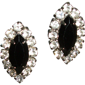 Vintage Rhinestones & Faceted Crystals Clip Earrings