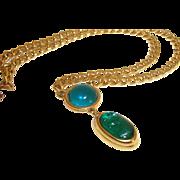 Vintage Monet Teal Glass Scarab Pendant Necklace