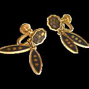 Vintage Damascene Dangle Earrings