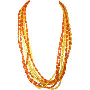 Vintage 6-Strand Lucite Necklace in Bright Orange & Yellow