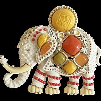 Vintage Unsigned Hattie Carnegie Elephant Pin/Pendant