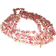 Vintage 4-Strand Pink Mother of Pearl Nuggets Necklace