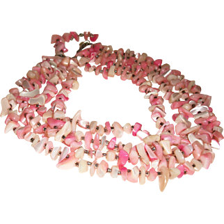 Vintage 4-Strand Pink Mother of Pearl Nuggets Necklace SALE!