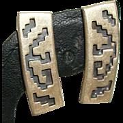 Vintage Sterling Silver Aztec Design Etched Earrings