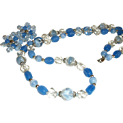 Vintage Shades of Blue Glass Necklace & Earrings Set