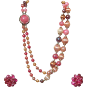 Vintage 2-Strand Season-Spanning Necklace & Lucite Clip Earrings