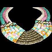 Vintage Multi-Strand Pastel Wood Tiles Beaded Necklace