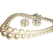 Vintage 2-Strand Faux Pearls Necklace and Earrings Set